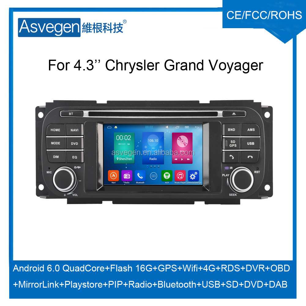 Wholesale Android Car DVD Player For 4.3'' Chrysler Grand Voyager Navigation Car DVD GPS Support Playstore,4G,WIFI