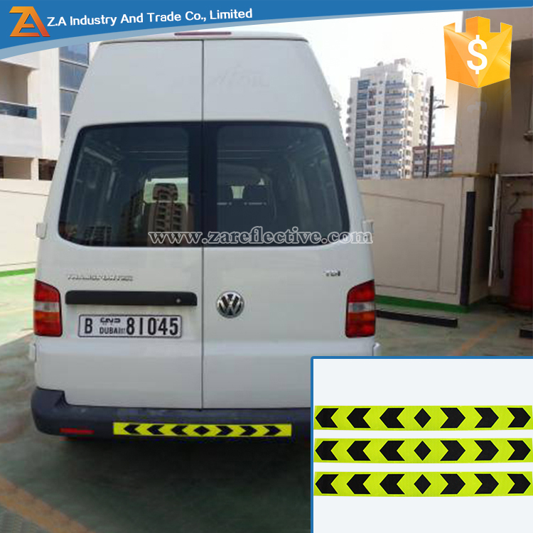 PVC/PET Black Arrows Retro Safety Warning Vehicles Sticker Yellow Green Fluorescent Reflective Tape