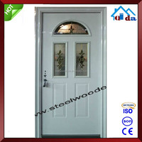 Modern Decorative Oval Glass Steel Door