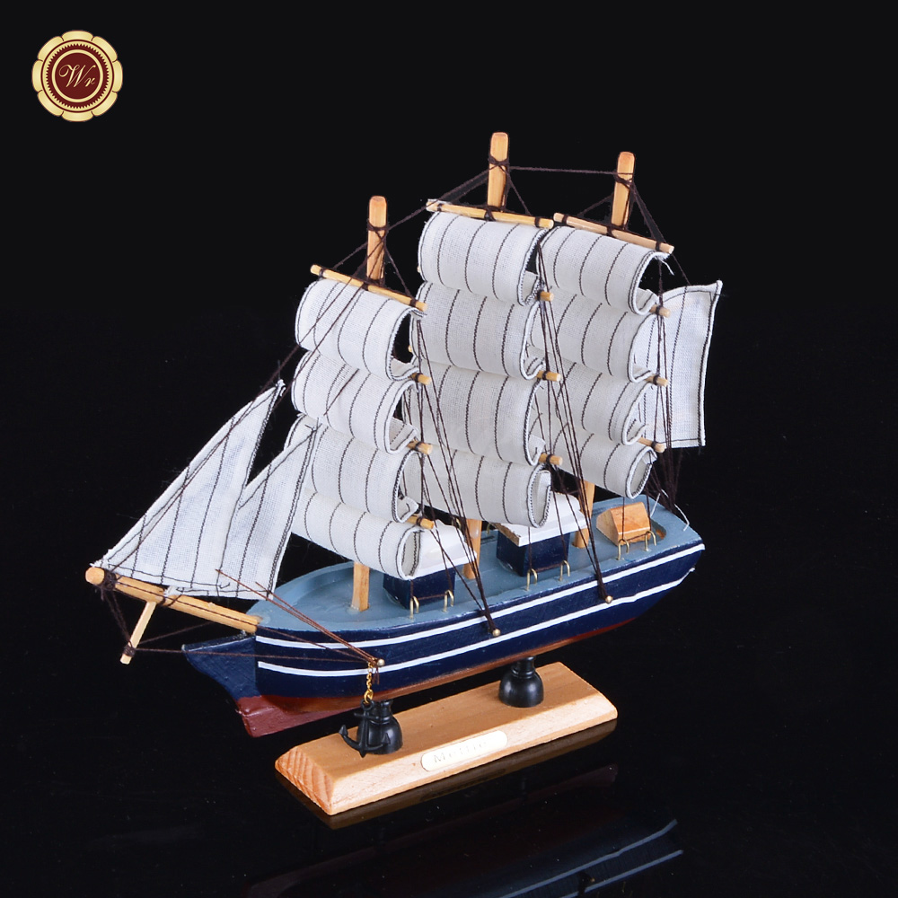 WR Vintage Style <strong>Wooden</strong> Sailing Ship Model Toy Quality Sailboats Crafts for Home Office Holiday Decoration 24*7*24cm