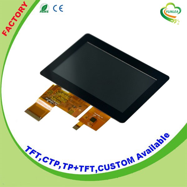 High brightness 4.3 inch wqvga tft lcd <strong>module</strong> with Glass+Glass touch screen for sale