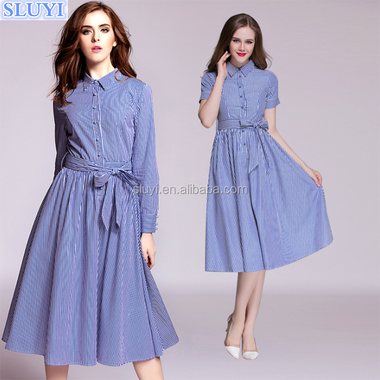 Ladies office wear elegant fashion women wear striped tight waist dresses