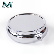 Wholesale small stainless steel metal pill box with mirror