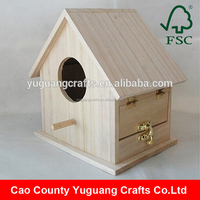 Wholesale Hot selling Light Wood Unfinished Wooden bird House