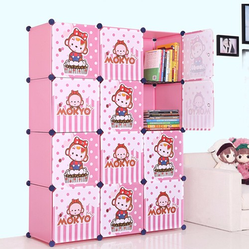 Portable Closets For Clothes Wardrobe Freestanding Cute Cartoon Storage Organize