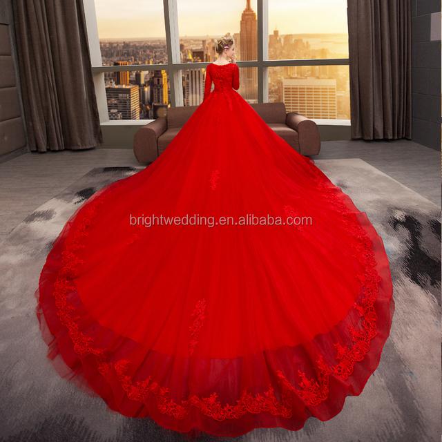 turkish arabic bridal luxury red muslim wedding dress