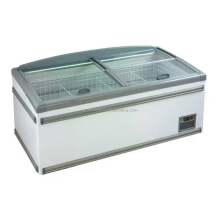 2014 AHT double Glass top open Door chest freezer with CE commercial refrigerator curved freezer island freezer