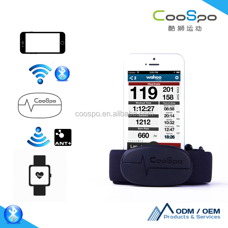 CooSpo fitness BLE smart watch with heart rate monitor strap