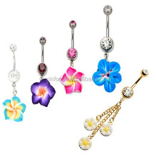 Navel with polymer clay flower dangle charm Dangle Belly Ring Body piercing jewelry