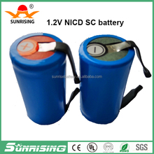 NI-CD SC 1.2V 2000mAh nicd sub c 2000mah rechargeable battery with solder tabs