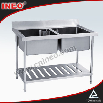 Stainless Steel Restaurant And Hotel Free Standing Two Bowl Commercial Sink