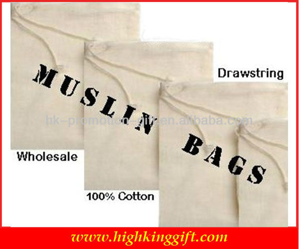 Wholesale 100% Muslin Cheap Cotton Drawstring Bag Organic Cotton Drawstring Bag nd Printing Drawstring Bags