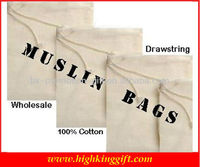 Wholesale 100% Muslin Cheap Cotton Drawstring Bag Organic Cotton Drawstring Bag nd Printing Drawstring Bags