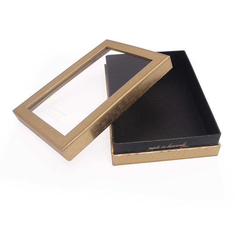 black cardboard custom gift box with transparent lid