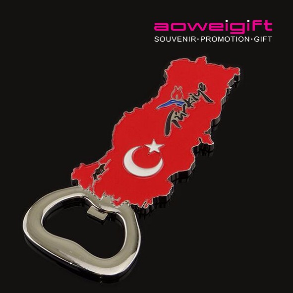 Wholesale Turkey Flag Red Map shaped Beer Bottle Opener Souvenir Fridge Magnet