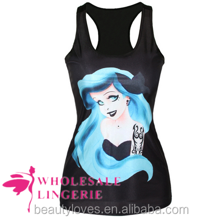 Tattooed Ariel Little Mermaid Graphic Black women tank top,women summer vest