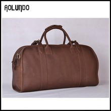 Updated new fashion mens genuine leather weekend duffle bag for men travel bag