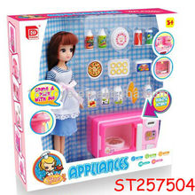 Girl's Plastic Toy Microwave Oven Set