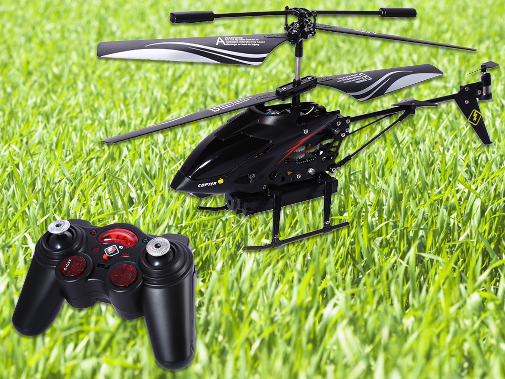 312977 3.5CH Radio RC Metal Gyro Helicopter - BLACK