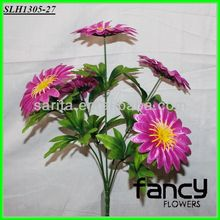 home&wedding decoration,5 heads purple light up artificial daisy flowers bush making