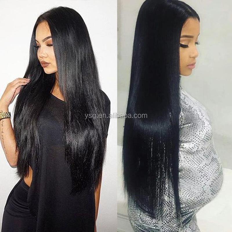 Long silky straight women hair wigs wholesale brazilian human hair full lace wig with baby hair