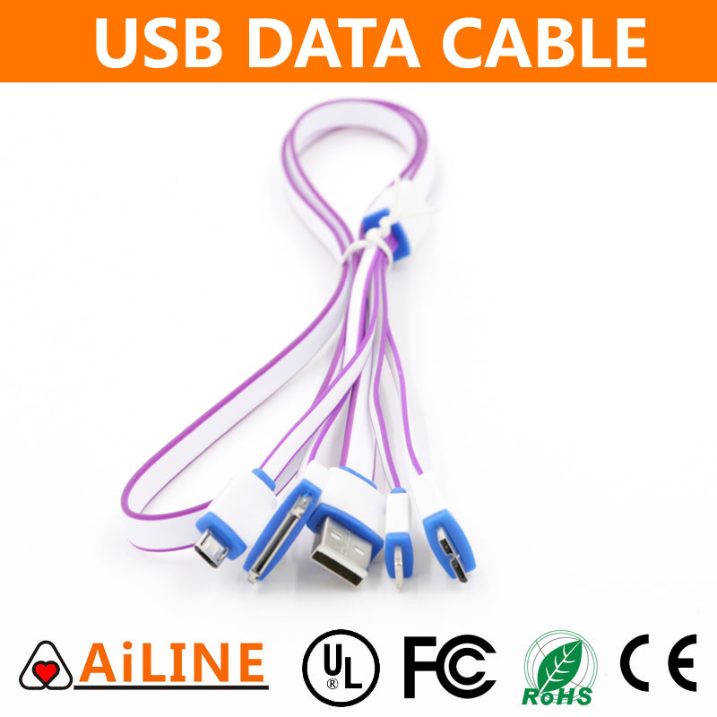 AiLINE Wholesale 4 In 1 Purple White Phone Charger Multi Connector USB Cable