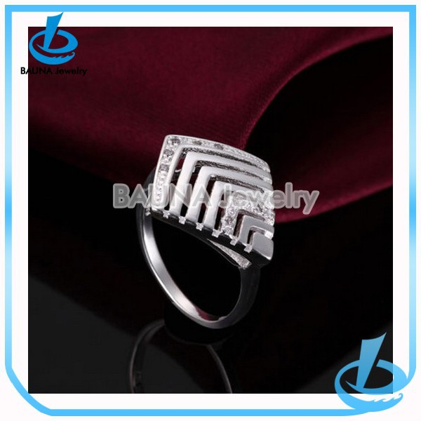Europe luxury hollow arrow design rhinestone jewelry fashion silver plated ring base