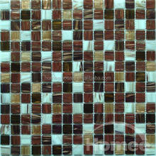 Foshan factory luxurious mix color golden line decorative glass mosaic wall tile