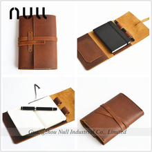 Vintage style leather notebook , diary , account book cover wallet