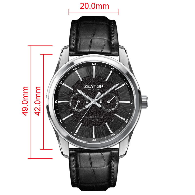 2020 New Arrivals Classical 5atm Male Genuine Crocodile Leather Strap Shenzhen Japan Movement Chronograph Watch Men