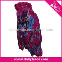 Fashion Charm Floral Printing Crinkle Polyester Plum Lady Voile Scarf Wholesale