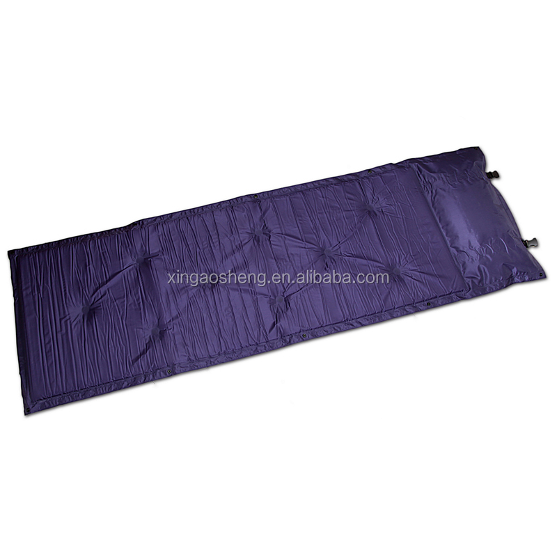 Hot Sale Can be stitched Automatic PVC Inflatable Mattress Foldable Camping Pad with Pillow