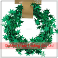 Hot sale Metallic PVC Green Star Gift Wrapping Wired Tinsel Garlands