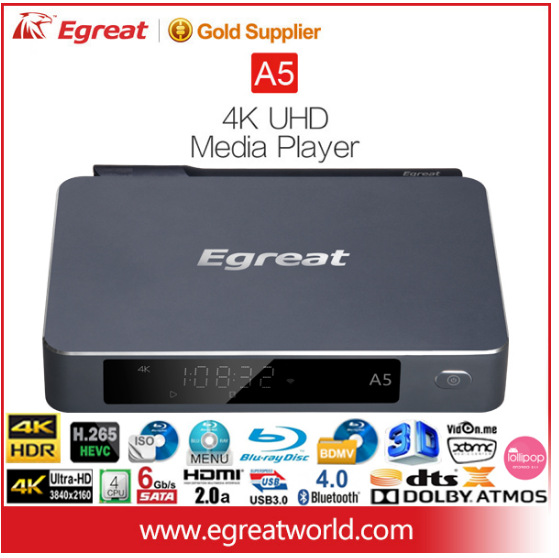 Egreat A5 Media player 4K Andriod Box support 100M,802.11b/g/n speed wireless network