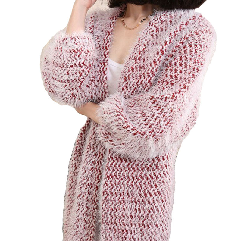 ccf65ab23f Get Quotations · cardigan feminino 2015 women knitted faux fur fuzzy sweater  long sleeve geometric cardigans winter oversized mohair