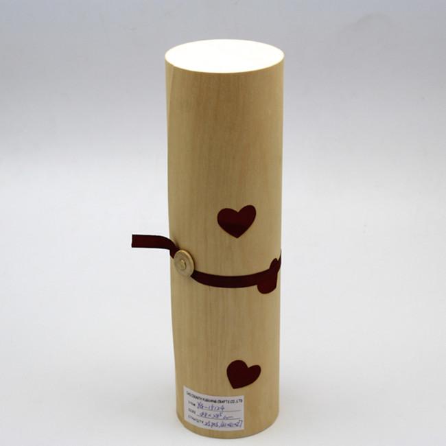 Wine Packaging Box Single Gift Round Birch Veneer box Customize Logo