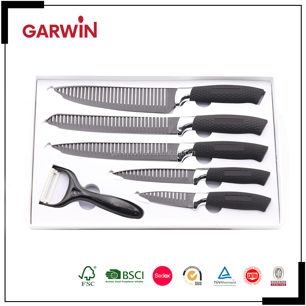 Hot Selling Royalty Line Switzerland 6 Pcs Non-stick Coating Color Kitchen Knife Set with PP Handle