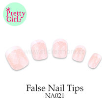 Girl Dress Nail Art Design Fake Nail Tips Cute Artificial Fingernails pearlise pink false nails NA021