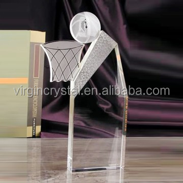 Blank glass crystal awards plaque with football for sport souvenir