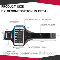 Mobile phone arm strap with touch screen