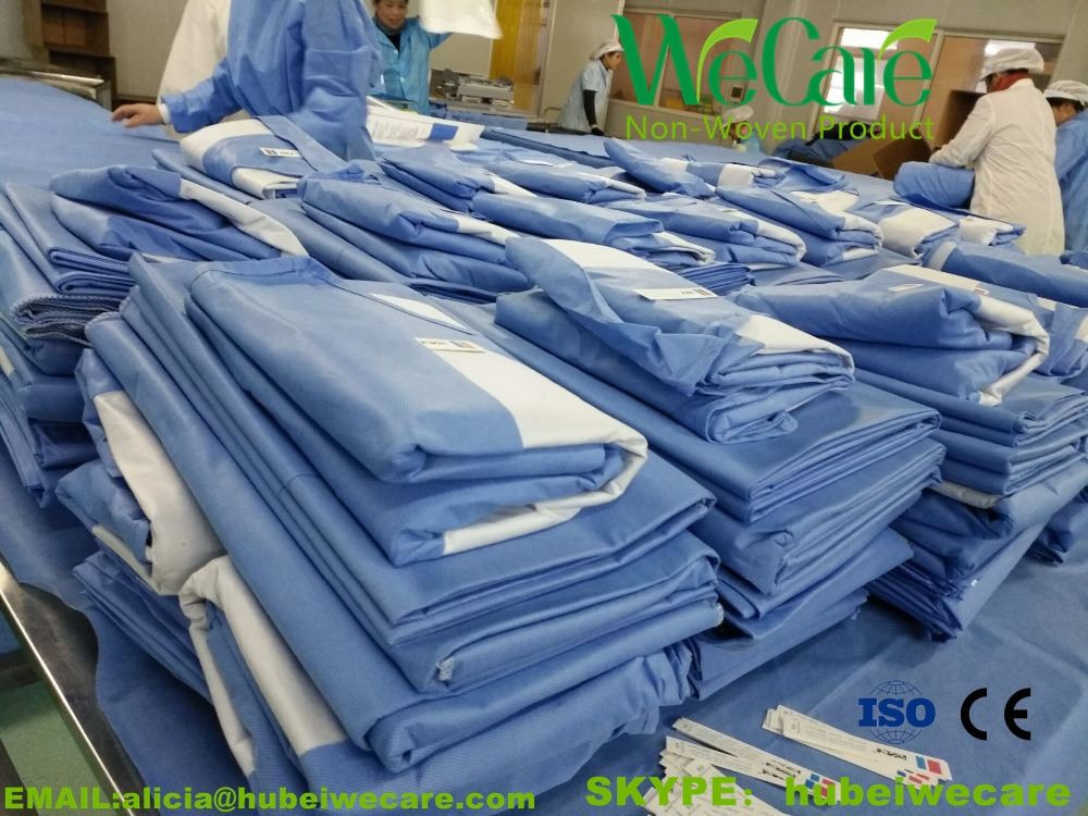 Disposable Hospital Safety Non woven Operating gown Yellow Isolation Gown, 45G SMS Material