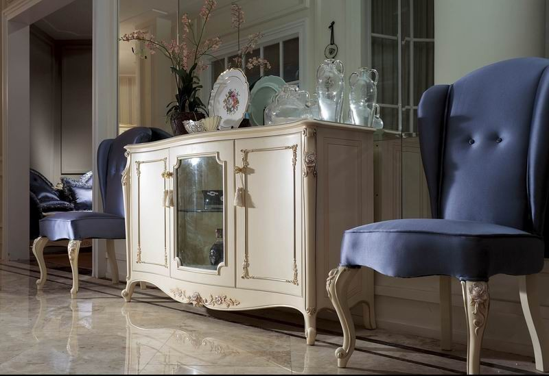 YM057 elegant neoclassical ivory white dining room sideboards cupboard buffet cabinets luxury european rococo villa furniture