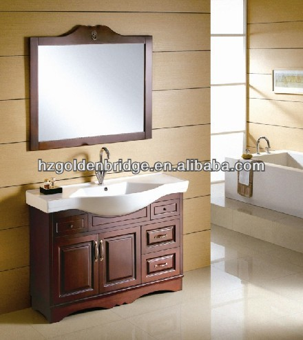 Modern style american single basin bathroom vanity and ceramic washbasin cabinet