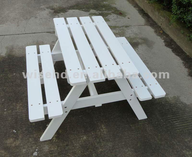 W t 319 enfants blanc en bois en plein air table de - Table pique nique enfants ...