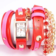 High Quality Red Color Leather Wrist Watches Ladies' Quartz Select Watches