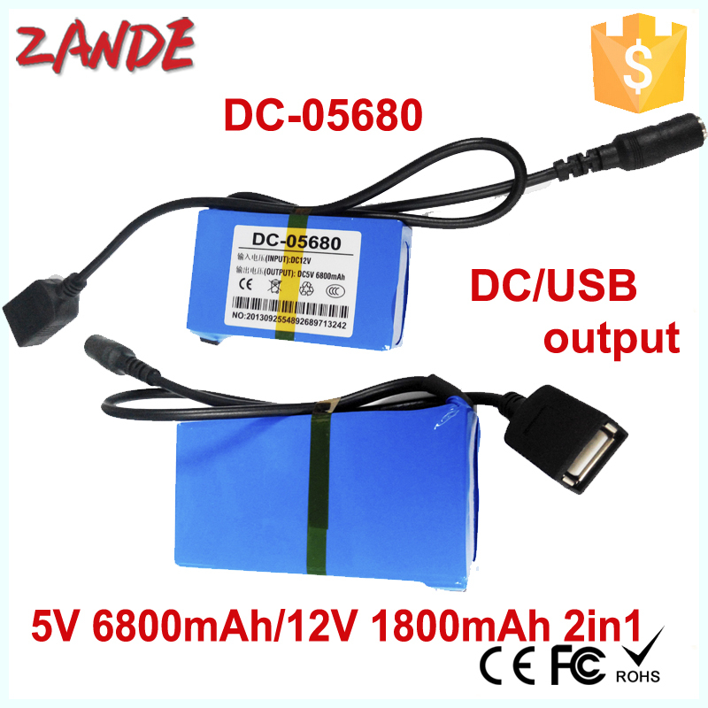 2015 wholesales DC-05680 1800mAh 12V & 6800mAh 5v 2a external battery pack for GPS,Lan router