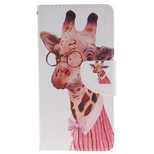 cute cartoon painting painted magnetic pattern flip case for HUAWEI P9 with card slot