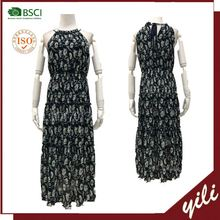Wholesale new style black flower printing long flare evening dress chiffon with lace jacket