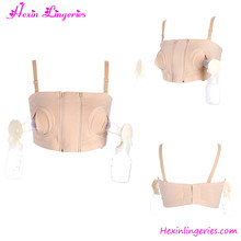 Wholesale beige and black sexy maternity nursing bra with bottles