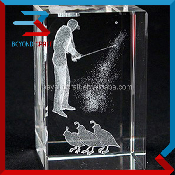 3d golf player crystal image gifts for club